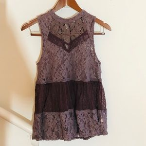 Free People Mauve Sleeveless Lace Top